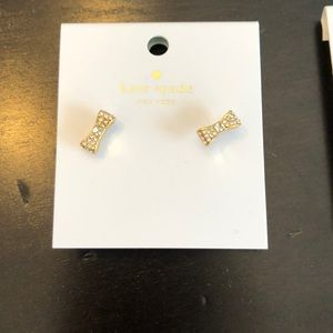 Kate Spade gold bow earrings with CZ